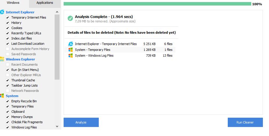 Удаление файлов при помощи CCleaner